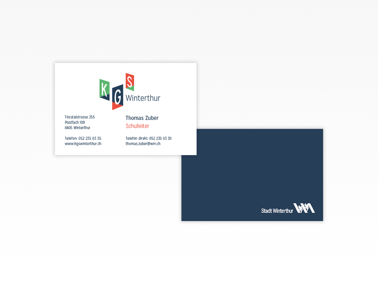 Business cards KGS Winterthur, Stadt Winterthur