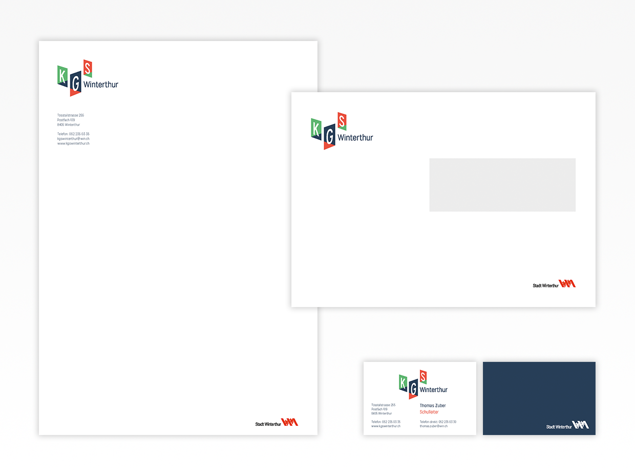 Letterhead, business cards, envelopes, KGS Winterthur