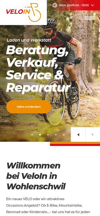 Veloin mobile screen 1