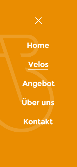 Veloin mobile screen 3 - menu